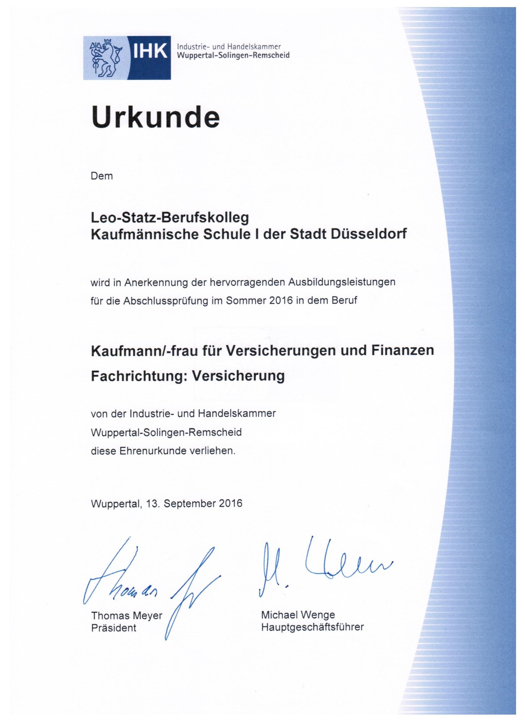 Kaufleute Fur Versicherungen Und Finanzen Leo Statz Berufskolleg